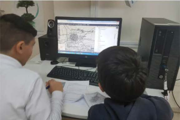 The  Kitchener map interactive application during the Pallouriotissa 3rd Primary School's educational activity in Cyprus.
